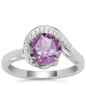 Moroccan Amethyst Ring with White Zircon in Sterling Silver 1.90cts