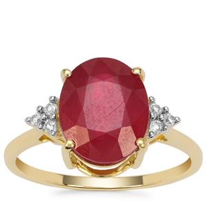 Malagasy Ruby Ring with White Zircon in 9K Gold 5.50cts (F)