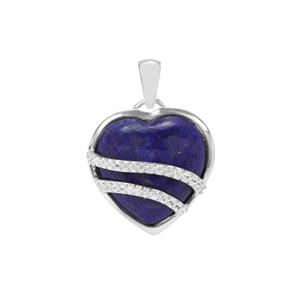 Sar-i-Sang Lapis Lazuli Heart Pendant with White Zircon in Sterling Silver 15.03cts