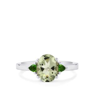 Prasiolite Ring with Chrome Diopside in Sterling Silver 1.89cts