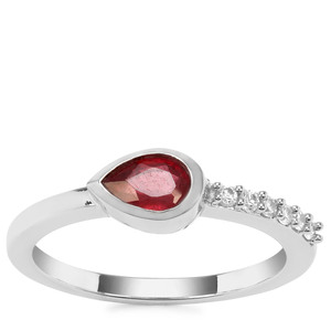Malagasy Ruby Ring with White Zircon in Sterling Silver 0.75cts (F)