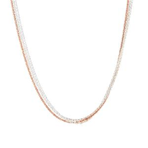 """18"""" Two Tone Sterling Silver Altro Three Strand Tocalle Necklace 8.40g"""
