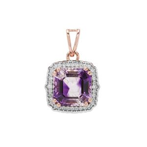 Asscher Cut Moroccan Amethyst Pendant with White Zircon in 9K Rose Gold 4.30cts