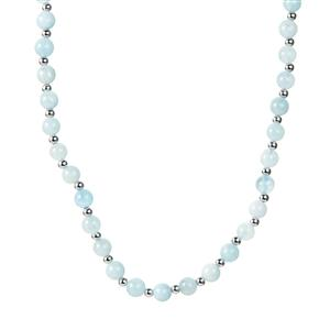 94.83ct Aquamarine Sterling Silver Necklace with Magnetic Lock