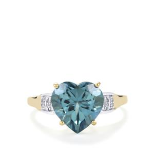 Santa Maria Topaz Ring with Diamond in 10K Gold 4.09cts