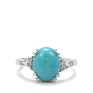 Sleeping Beauty Turquois, Sky Blue Topaz & White Zircon Sterling Silver Ring ATGW 3.14cts
