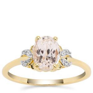Minas Gerais Kunzite Ring with White Zircon in 9K Gold 1.70cts