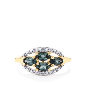 Mahenge Blue Spinel Ring with White Zircon in 10K Gold 1.08cts