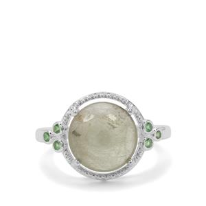 Menderes Diaspore Ring with Tsavorite Garnet in Sterling Silver 4.37cts