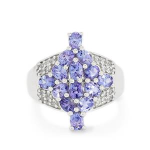 Tanzanite & White Topaz Sterling Silver Ring ATGW 2.62cts