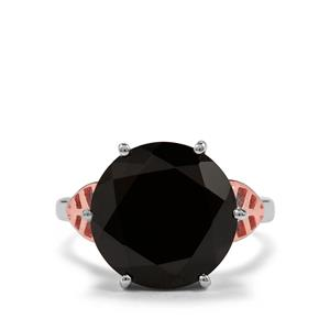 12.70ct Black Spinel Two Tone Sterling Silver Ring