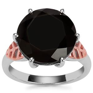 Black Spinel Ring in Two Tone Sterling Silver 12.70cts
