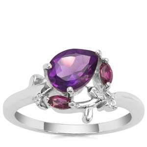 Amethyst, Comeria Garnet Ring with White Zircon in Sterling Silver 1.26cts