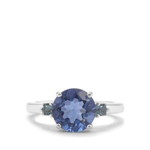 Colour Change Fluorite Ring with Marambaia London Blue Topaz in Sterling Silver 3.37cts