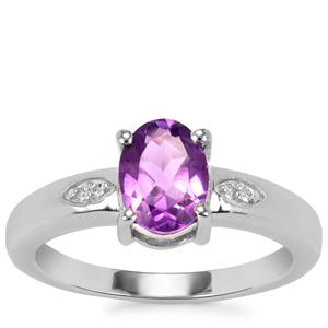 Zambian Amethyst Ring with White Topaz in Sterling Silver 1.14cts