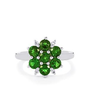 Chrome Diopside & White Topaz Sterling Silver Ring ATGW 2.17cts