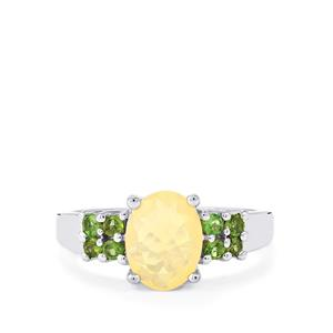 Ethiopian Opal Ring with Chrome Tourmaline in Sterling Silver 1.22cts