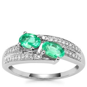 Ethiopian Emerald Ring with Diamond in 18k White Gold 1.11cts