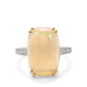 Ethiopian Opal Ring with Diamond in 18K Gold 6.43cts