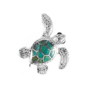 Chrysocolla Turtle Pendant  in Sterling Silver 2.5cts
