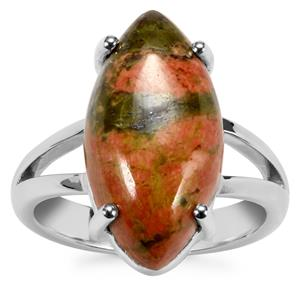 Unakite Ring in Sterling Silver 7.66cts