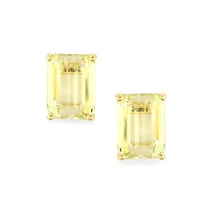 4.41ct Canary Kunzite 9K Gold Earrings