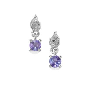 Tanzanite Earrings with Diamond in Sterling Silver 0.53ct