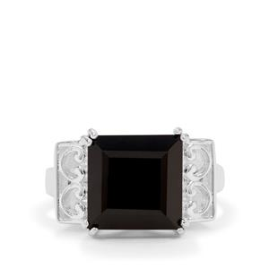 8ct Black Spinel Sterling Silver Ring