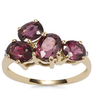 Burmese Spinel Ring with White Zircon in 9K Gold 3.74cts