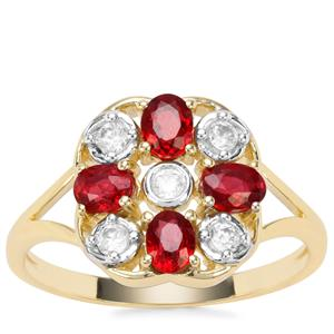 Songea Ruby Ring with White Zircon in 9K Gold 1.17cts