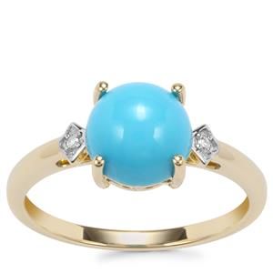 Sleeping Beauty Turquoise Ring with Diamond in 9K Gold 1.80cts