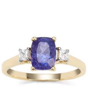Tanzanite Ring with White Zircon in 9K Gold 2.05cts