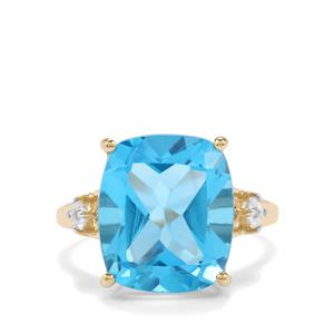 Swiss Blue Topaz Ring with White Zircon in 10K Gold 10.91cts