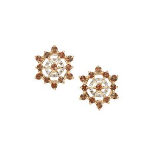 Sopa Andalusite Earrings with Champagne Diamond in 9K Gold 1.80cts