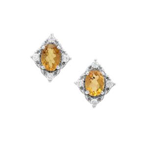 Burmese Amber Earrings with White Zircon in Sterling Silver 0.97ct