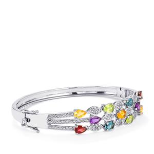 Kaleidoscope Gemstones Oval Bangle in Sterling Silver 5.31cts