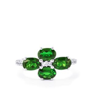 Chrome Diopside & White Topaz Sterling Silver Ring ATGW 2.82cts