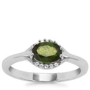 Chrome Diopside Ring with White Topaz in Sterling Silver 0.97ct