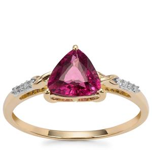 Malawi Garnet Ring with Diamond in 10k Gold 1.36cts