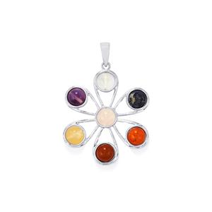 25.23ct Sterling Silver Flower Gemstone Chakra Pendant