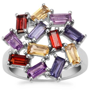 Zambian Amethyst, Zambian Garnet, Bengal Iolite Ring with Rio Golden Citrinein Sterling Silver 2.66cts