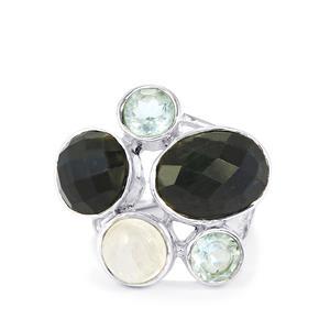Hawk's Eye , Sky Blue Topaz & Rainbow Moonstone Sterling Silver Ring ATGW 13.50cts