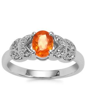 Mandarin Garnet Ring with White Topaz in Sterling Silver 1.24cts