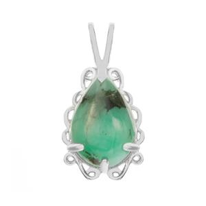 Minas Velha Emerald Pendant in Sterling Silver 3.97cts