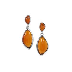 American Fire Opal Earrings in Sterling Silver 6.97cts