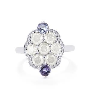 Diamond and Tanzanite Sterling Silver Ring ATGW 2.13cts