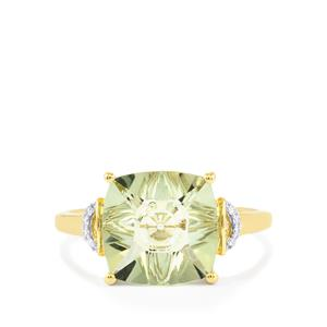 Lehrer QuasarCut Prasiolite Ring with Diamond in 9K Gold 2.97cts