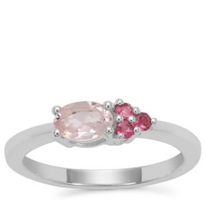 Zambezia Morganite Ring with Oyo Pink Tourmaline in Sterling Silver 0.57ct