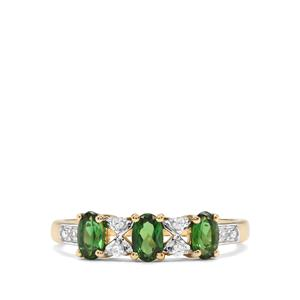Chrome Tourmaline Ring with White Zircon in 10K Gold 0.71ct