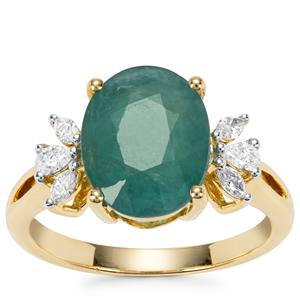 Grandidierite Ring with Diamond in 18K Gold 3.94cts
